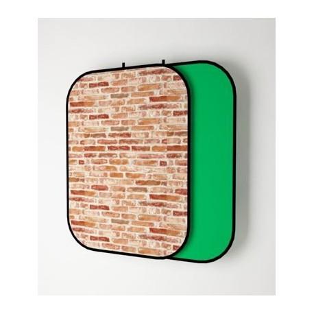 Фон DC-1521BG на пружине двусторонний (digital + хлопок) красный кирпич/зеленый PhotoShop ( 150*210cм )